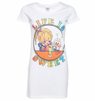 Women's Rainbow Brite Life Is Sweet White T-Shirt Dress