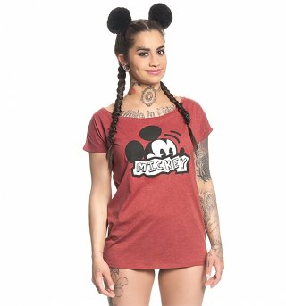 Women's Red Disney Mickey Mouse Retro Slouchy T-Shirt
