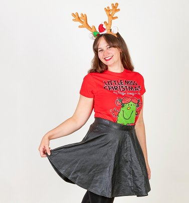 Women's Red Little Miss Christmas Fitted T-Shirt