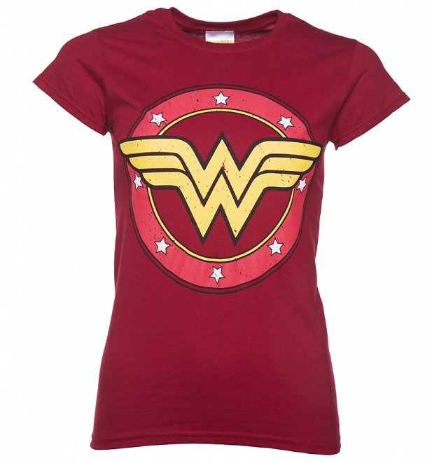 Women's Red Marl Wonder Woman Circle Logo T-Shirt