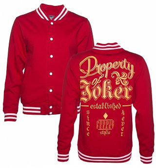 Women's Red Property Of The Joker Suicide Squad Varsity Jacket