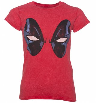 Women's Red Snow Wash Marvel Comics Distressed Deadpool Eyes T-Shirt