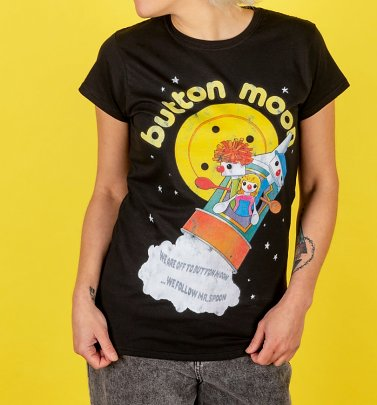 Women's Retro Button Moon Black Fitted T-Shirt