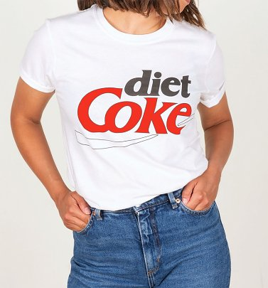Women's Retro Diet Coke Logo White Boyfriend Fit Rolled Sleeve T-Shirt