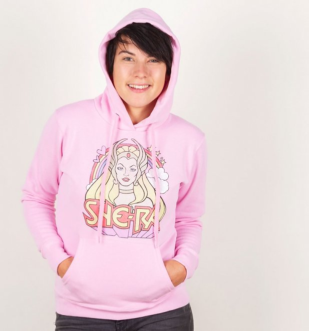 Women's Retro She-Ra Rainbow Light Pink Hoodie