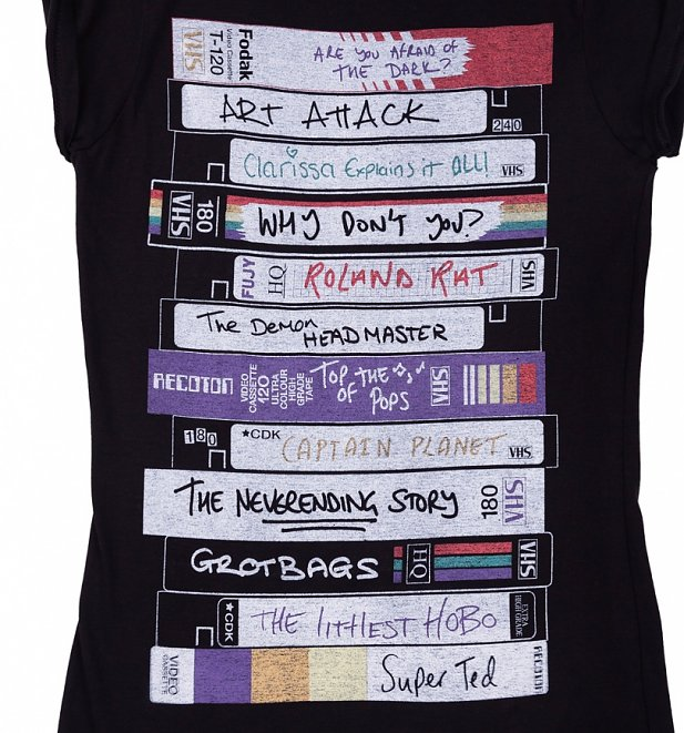 Women's Retro Video Tapes Rolled Sleeve Boyfriend T-Shirt