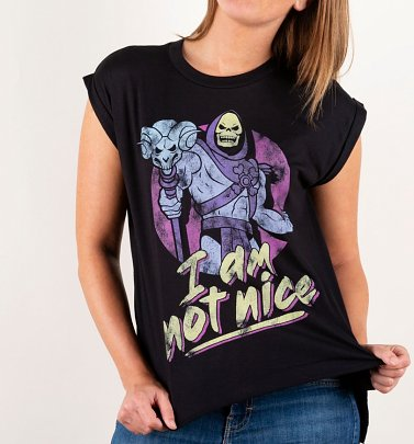 Women's Skeletor I Am Not Nice Black Flowy Sleeveless T-Shirt