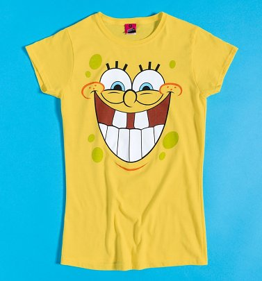 Women's SpongeBob SquarePants Happy Face Yellow Fitted T-Shirt