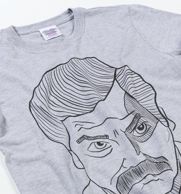 Women's Sport Grey Ron Swanson Illustration Boyfriend Fit Rolled Sleeve T-Shirt