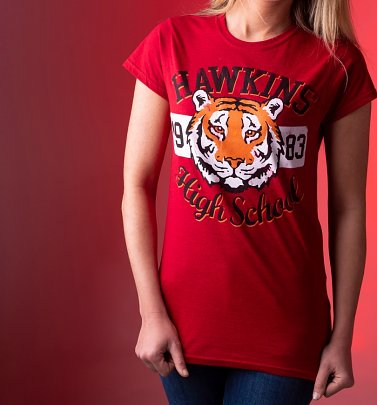 Women's Stranger Things Inspired Hawkins High School Antique Cherry Red T-Shirt