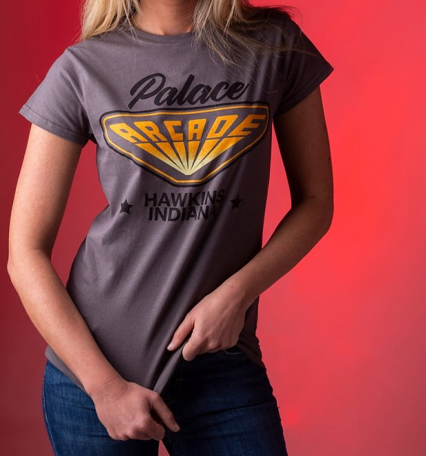 Women's Stranger Things Inspired Hawkins Indiana Arcade Charcoal T-Shirt