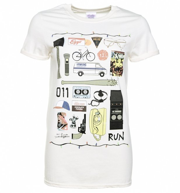 Women's Stranger Things Inspired Icons Ecru Boyfriend Fit T-Shirt