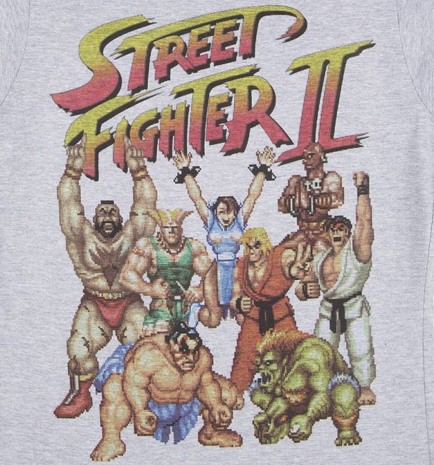 Women's Street Fighter II Pixel Gang Sport Grey T-Shirt
