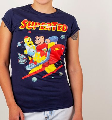 Women's SuperTed Space Scene Navy Boyfriend T-Shirt