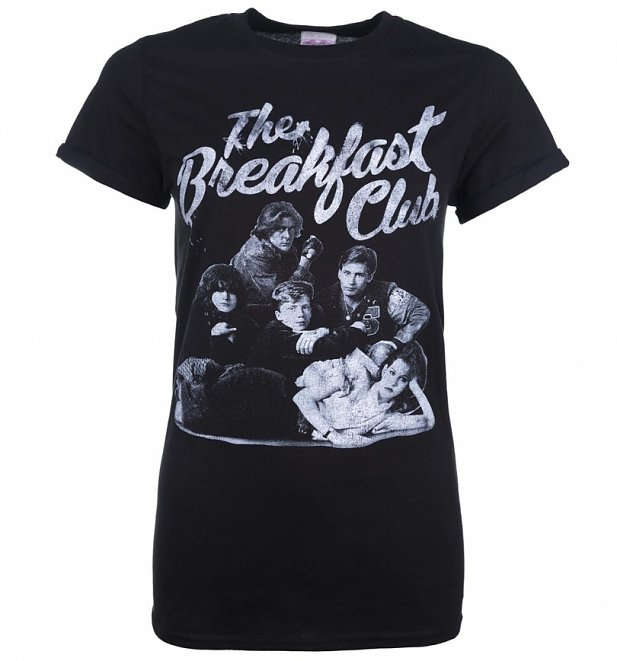 Women's The Breakfast Club Group Black Boyfriend Fit T-Shirt With Rolled Sleeves