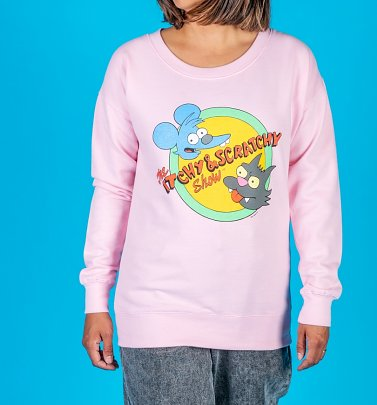 Women's The Simpsons Itchy and Scratchy Baby Pink Sweater