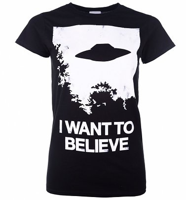 Women's The X-Files Inspired I Want To Believe Black T-Shirt