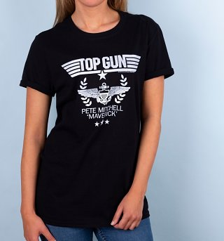 Women's Top Gun Pete Mitchell Maverick Black Boyfriend Fit Rolled Sleeves T-Shirt