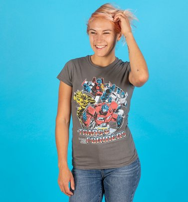 Women's Transformers Group Shot Charcoal Fitted T-Shirt