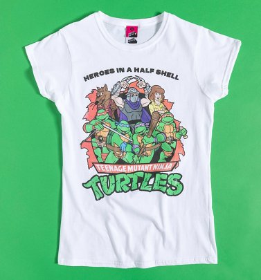 Women's Turtles Heroes In A Half Shell White Fitted T-Shirt