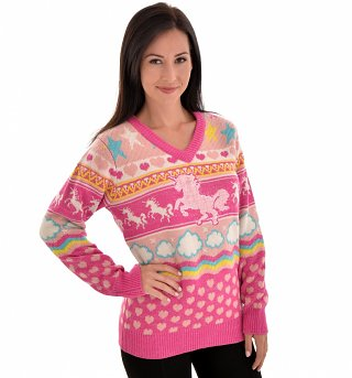 Women's Unicorn Knitted V-Neck Jumper from Cheesy Christmas Jumpers
