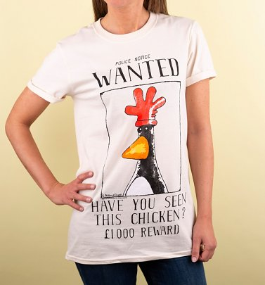 Women's Wallace And Gromit Feathers McGraw Wanted Poster Ecru Boyfriend Fit T-Shirt With Rolled Sleeves