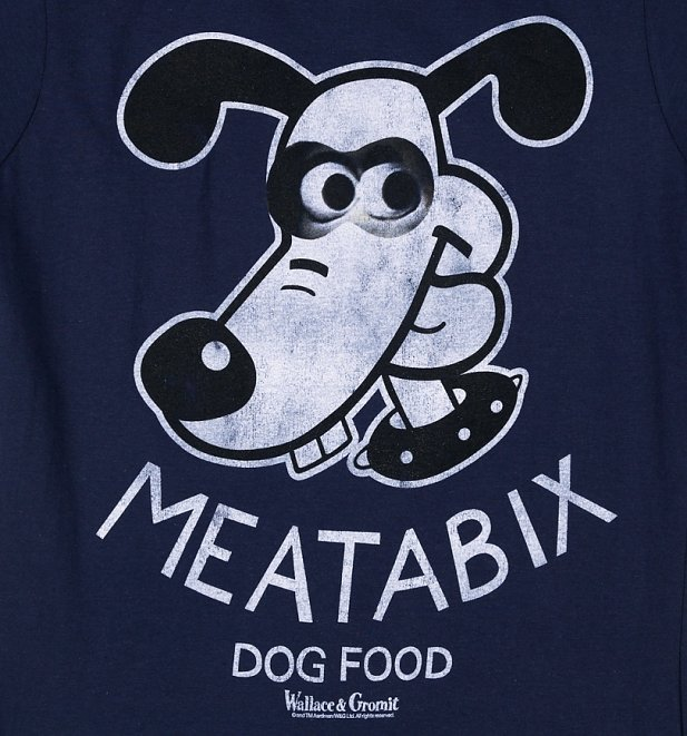 Women's Wallace And Gromit Meatabix Dog Food Navy T-Shirt