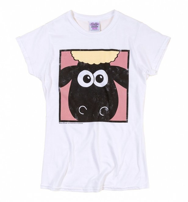 Women's Wallace And Gromit Shaun The Sheep Face White T-Shirt
