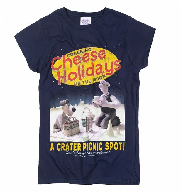 Women's Wallace and Gromit Cracking Cheese Holidays Navy T-Shirt