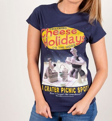 Women's Wallace and Gromit Cracking Cheese Holidays Navy Fitted T-Shirt