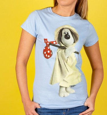 Women's Wallace and Gromit Raincoat Gromit Light Blue T-Shirt