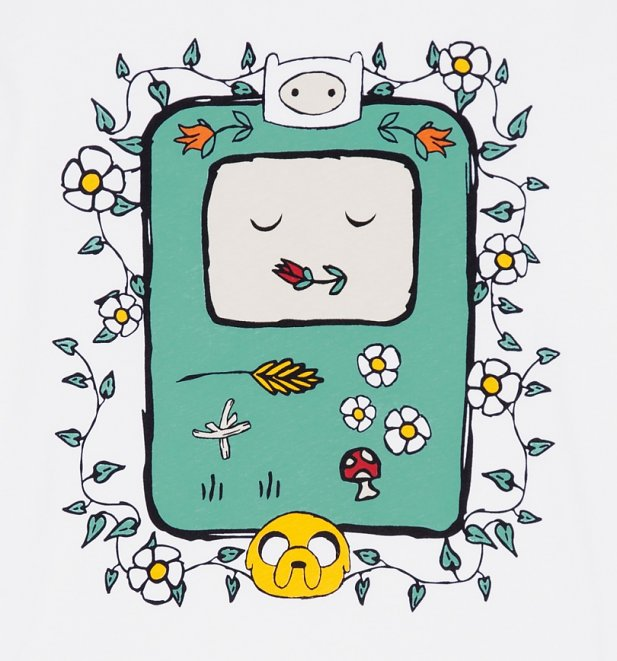 Women's White Adventure Time Flowers T-Shirt