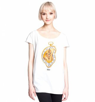 Women's White Alice Through The Looking Glass Melting Time Slouch T-Shirt