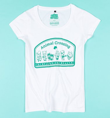 Women's White Animal Crossing T-Shirt from Difuzed
