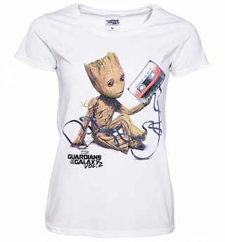 Women's White Baby Groot And Cassette Guardians Of The Galaxy T-Shirt