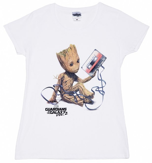 Women S White Baby Groot And Cassette Guardians Of The