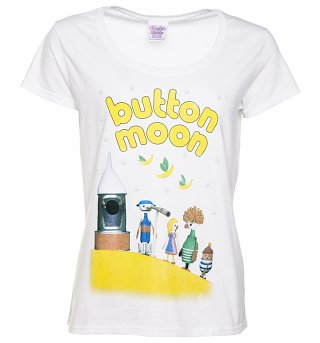 Women's White Button Moon Family Scoop Neck T-Shirt
