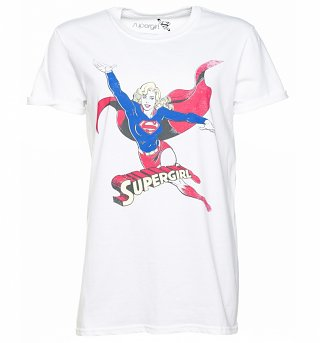 Women's White DC Comics Supergirl Rolled Sleeve T-Shirt