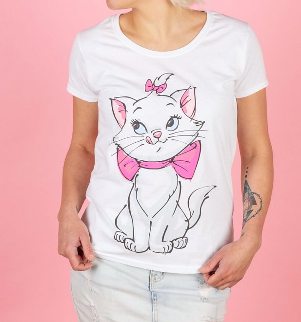 Women's White Disney Aristocats Marie Front And Back Print T-Shirt
