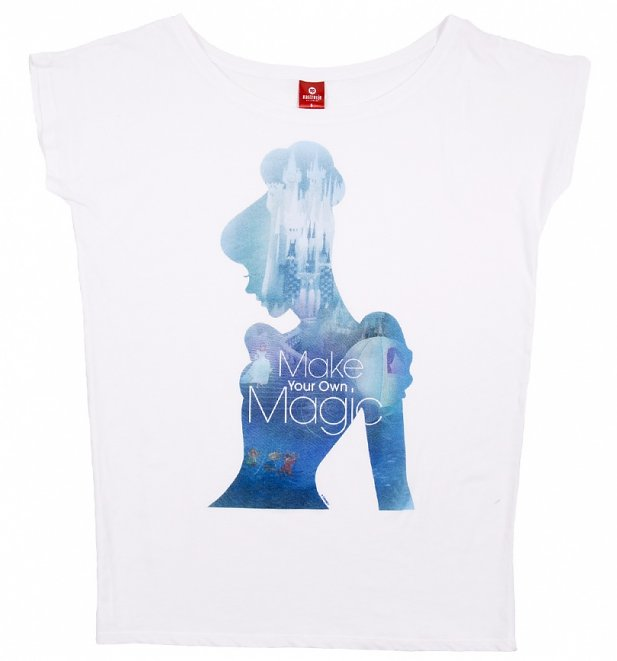 Women's White Disney Cinderella Magic Slouchy T-Shirt