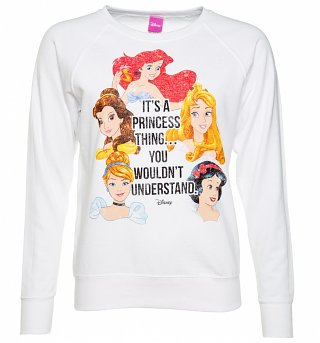 Women's White Disney It's A Princess Thing Sweater