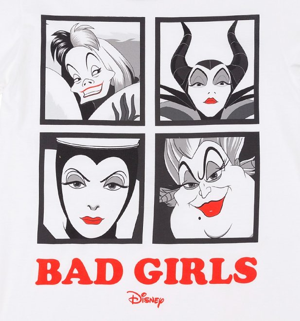 Women's White Disney Villains Bad Girls Rolled Sleeve Boyfriend T-Shirt