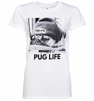 Women's White Doug The Pug Pug Life Rolled Sleeve T-Shirt