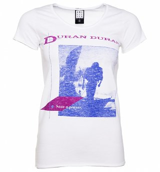 Women's White Duran Duran Save A Prayer T-Shirt from Amplified