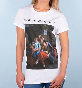 Women's White Friends Characters Rolled Sleeve T-Shirt