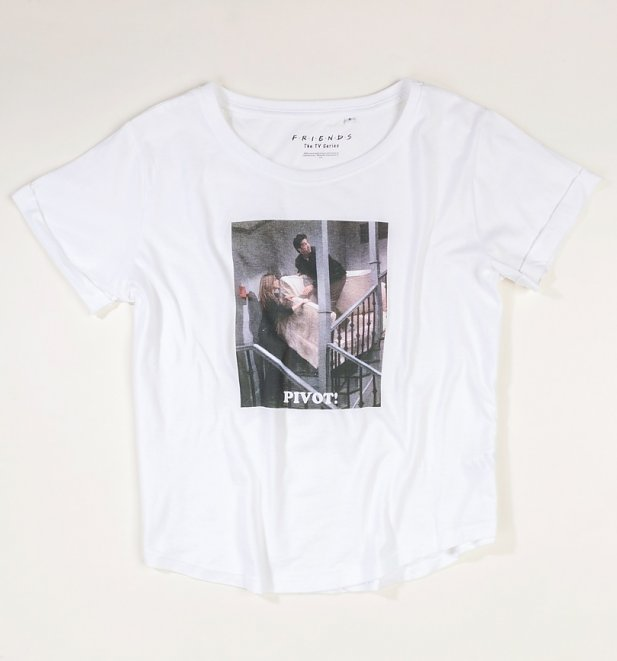Women's White Friends Pivot Boyfriend T-Shirt