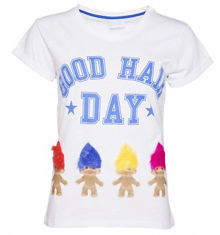 Women's White Good Hair Day Trolls 3D Hair Rolled Sleeve Boyfriend T-Shirt