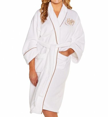 Women's White Harry Potter Golden Snitch Fleece Dressing Gown
