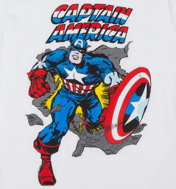 Women's White Marvel Captain America Vintage Cover Print T-Shirt