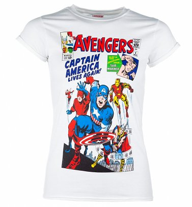Women's White Marvel The Avengers Vintage Cover Print T-Shirt